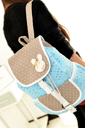 Sweet Polka-Dot Print Bowknot Canvas Backpack