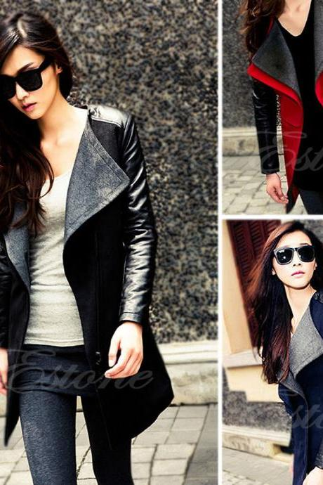 Women's Warm Wool Blend PU Leather Sleeve Long Coat Jacket
