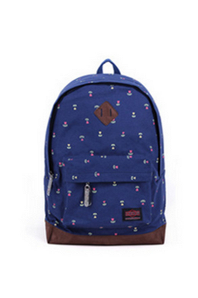 Sweet Cute White Tiny Dot Canvas Backpack - blue