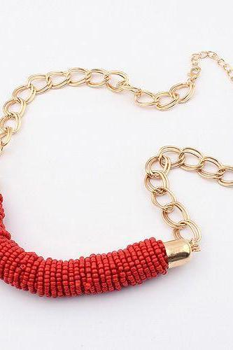 Valentine gift for her red beads fashion dress woman necklace