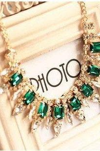 Luxury dress fashion green rhinestone woman necklace