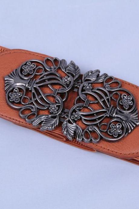 Elastic woman brown belt with alloy flowers buckle