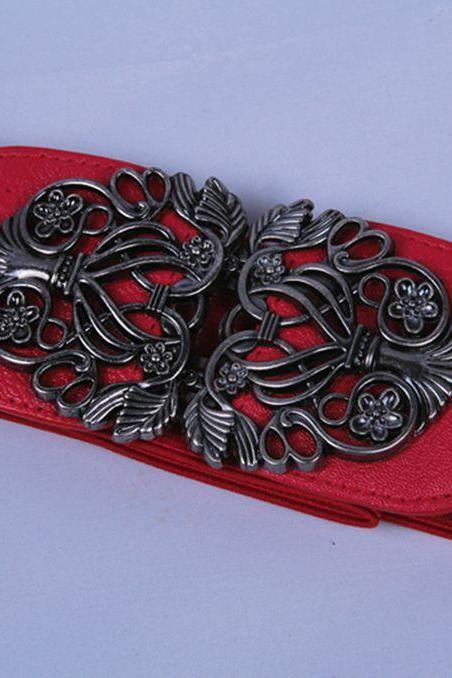 Elastic woman red belt with alloy flowers buckle