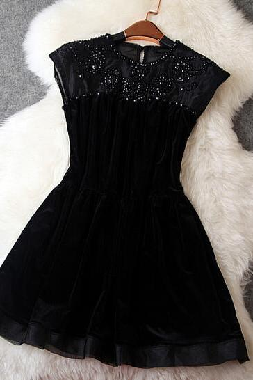 Fashion Organza Velvet Dress