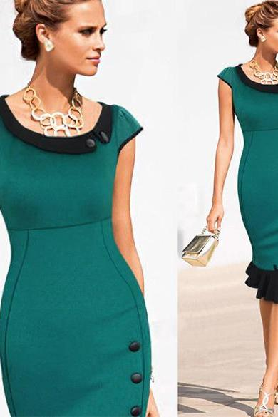Women's Vintage Color Block Cocktail Party Evening Bodycon Mermaid Midi Dress