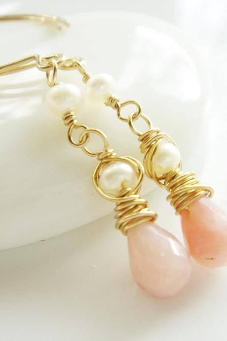 Dainty Peach Moonstone and Freshwater 14k Gold Filled Earrings