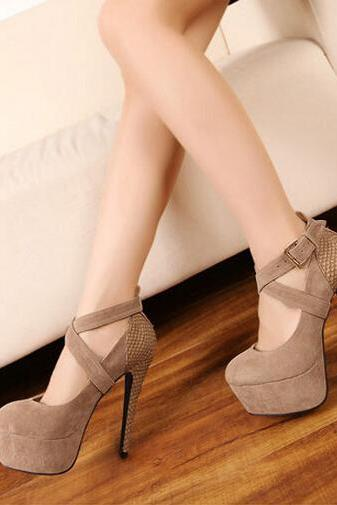 Heavy-bottomed heels nude color high-heeled shoes AT0112BI