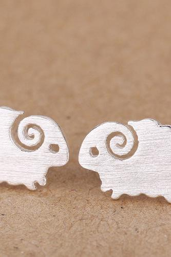 cute sheep ear stud 925 silver ear nail earring jewelry
