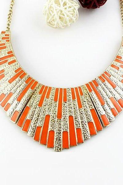 Statement jewelry evening dress orange woman necklace