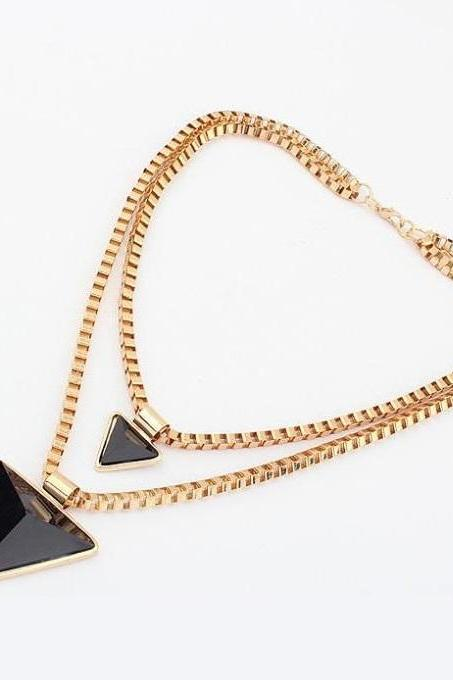 Triangle black pendants chain jewelry woman necklace