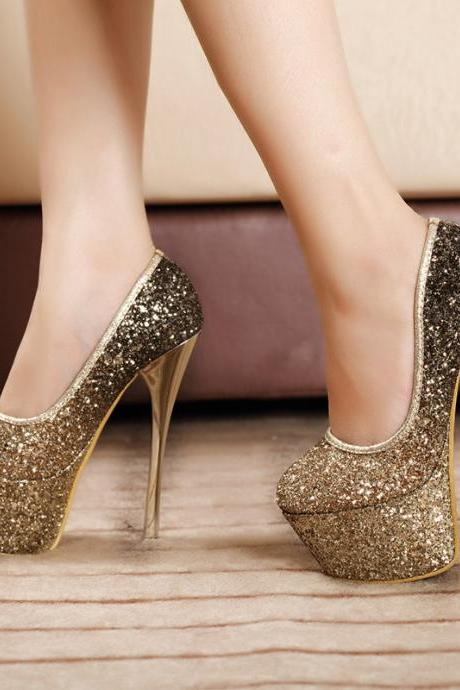 Gradient Sequined Platform Stiletto Pumps, High Heels, Prom Shoes, Party Shoes