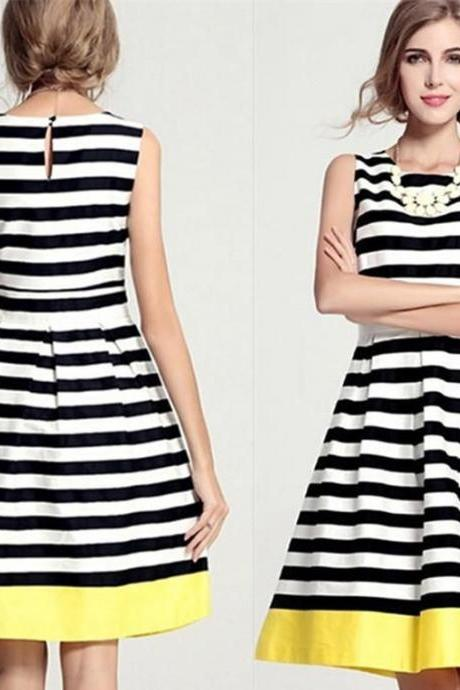 New Fashion Women's Elegant Evening Party Formal Dress Sleeveless Stripe Dress