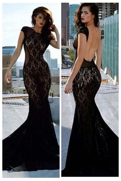 Gorgeous Chiffon And Lace Backless Floor Length Black Mermaid Dress