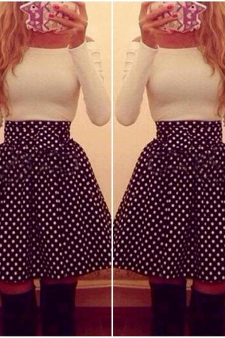 Cute Long Sleeve Polka Dots Dress