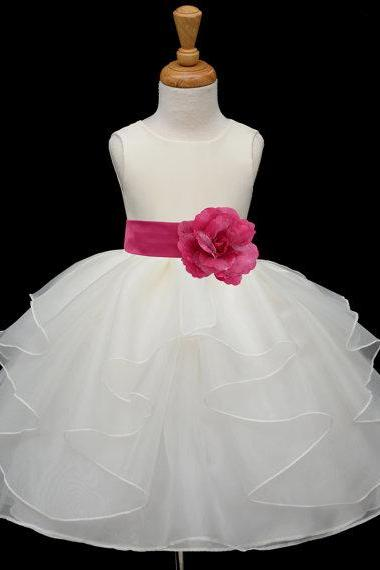 Organza with Satin Top flower girl dress,Sleeveless flower girl dress,sash with flower can be in any color