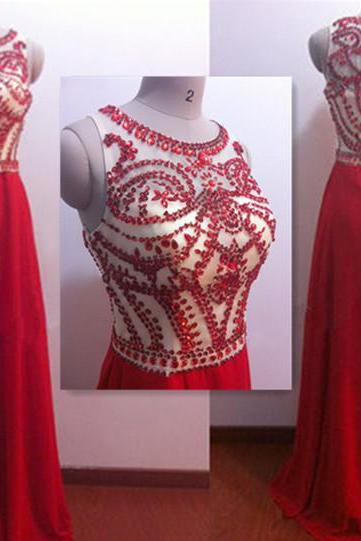 Charming Red Evening Dresses, Long Evening Dresses, Beading Evening Dresses, O-Neck Diamond Evening Gowns, Formal Dress,Off the Shoulder Evening Dresses Custom