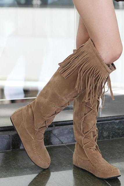Fringed boots with flat boots knee high boots KL0114BI