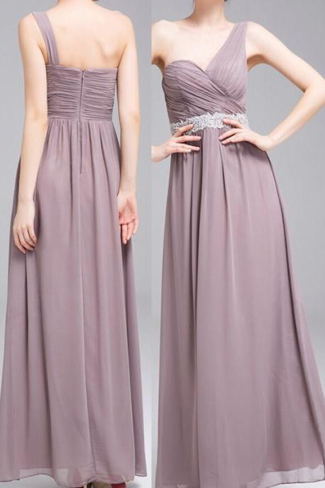 Sexy One-Shoulder Evening Dress Chiffon Evening Dress A-Line Evening Dress Long Prom Dress