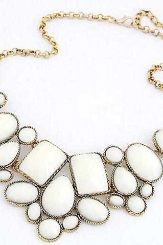 Vintage jewelry statement fashion white woman necklace