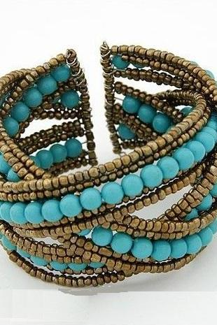 Fancy vintage beads blue woman bracelet