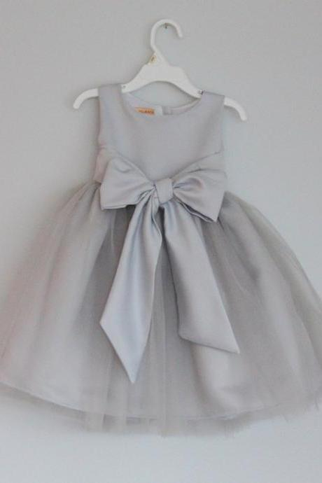 grey flower girl dress with sash,Sleeveless flower girl dress,