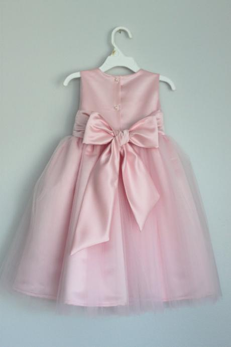 pink flower girl dress with sash,Sleeveless flower girl dress,