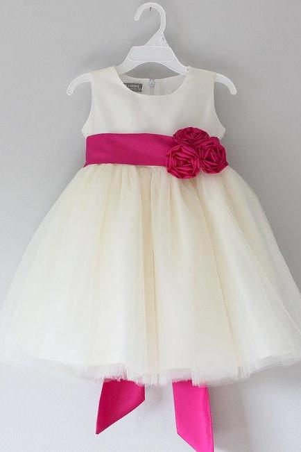 ivory flower girl dress with hot pink sash,Sleeveless flower girl dress