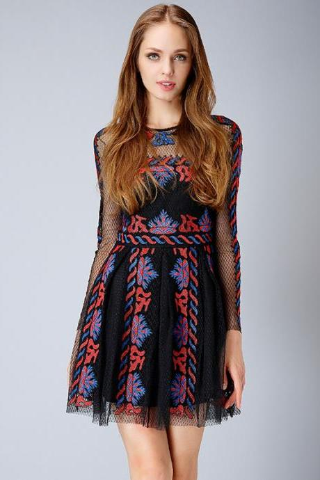 New lace embroidered dress