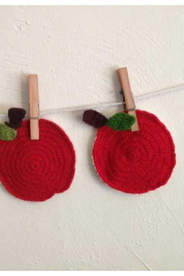 Knitted Apples crochet coasters Vintage Style Knitted mugrugs ( set of two ) Retro kitchen