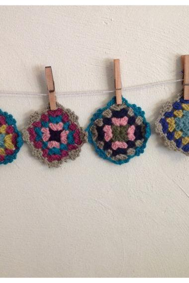 Multicolor Granny Crochet Vintage Style Knitted coasters set of four Retro Kitchen
