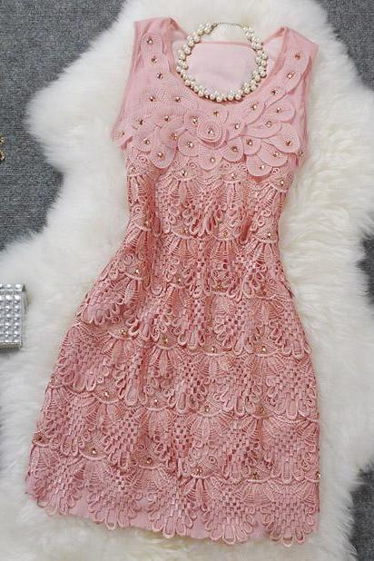 Exquisite embroidered dress three-dimensional Beaded sequined dresses FDD