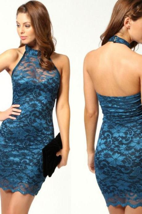 Sleeveless Sexy nightclub Lace Mini Dress FDH