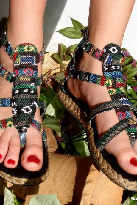 Gladiator Sandals Shoes In Mixed Blue Nepalese Embroidery