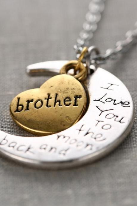 Fashion High Quality Non-fading Moon and Heart Brother Pendant Love Chain Necklace as Gift