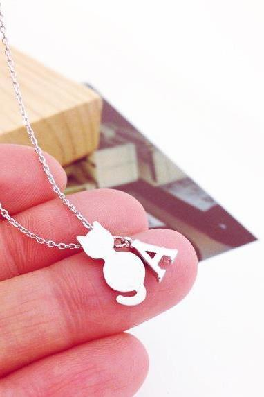 Tiny Cat And Initial Necklace, Personalized Necklace, Kitten Neckalce