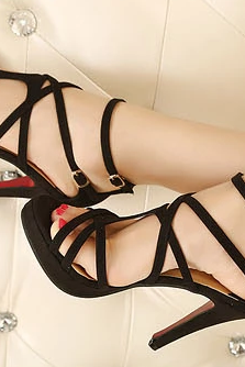 Sexy hollow-out bind high-heeled sandals--black