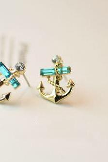 lovely Rhinestone Navy Anchor Stud Earrings