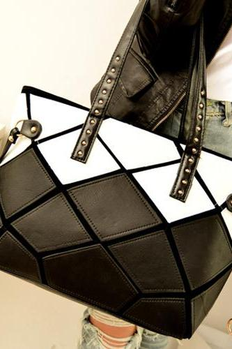 Stylish Black And White Handbag