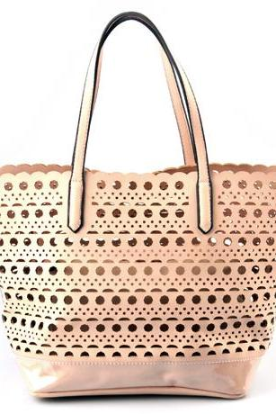 Pale Coral Leather Handbag. Strawberry Ice Beige Handbag. Pastel Handbag. Beige Satchel. Pale Pink Hobo. Beige Purse.