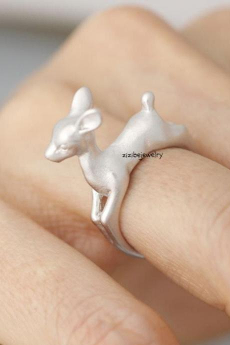 Bambee Ring, Deer ring, stag ring, reindeer ring, Elk Deer, Statement Ring in 3 colors, R0398K