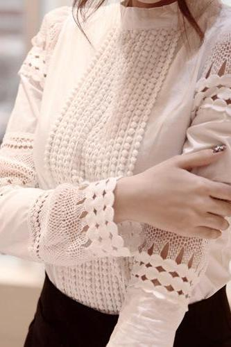 Hollow long-sleeved white shirt blouse KN0116E