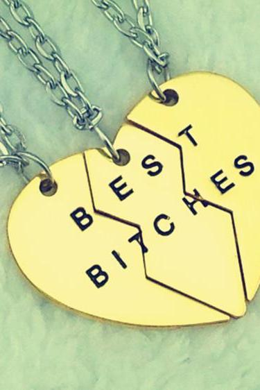 Women's Fashion Boken Heart 3 Parts Pendant BEST BITCHES Best Friends Partners Friendship Chain Necklace