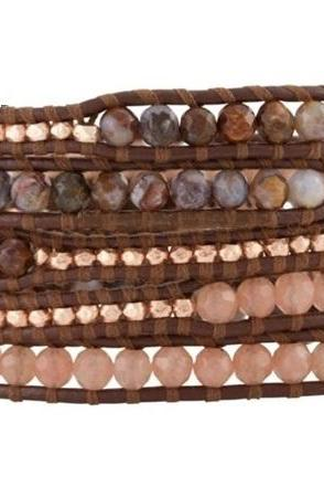 Beaded Wrap Bracelet - Pink Rose Jade, Agate Mix on Brown Leather - Artisan Boho Jewelry; Gift Idea For Her; Mother's Day