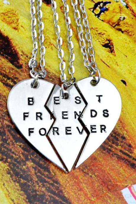 Women's Fashion Jewelry Boken Heart 3 Parts Pendant BEST FRIENDS FOREVER Best Friends Partners Friendship Good Friends Chain Necklace