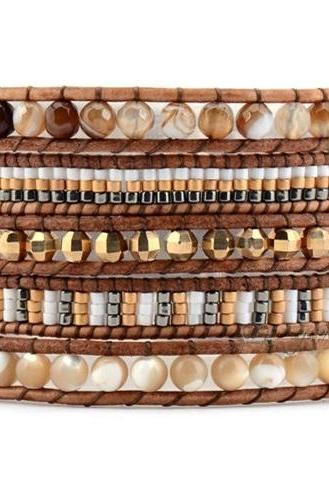 Beaded Wrap Bracelet - Natural Shell Agates with Seed Beads Wrap Bracelet - Bohemian Pattern Wrap - Artisan Boho Jewelry; OOAK