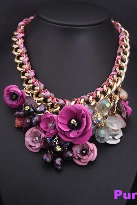 First Class Women's Fashion Jewelry Retro Elegant Beautiful Gemstone Crystal Flower Pendant Necklace