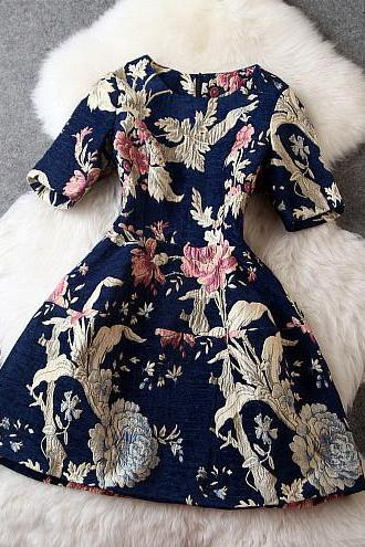 Floral Dress In Navy Blue
