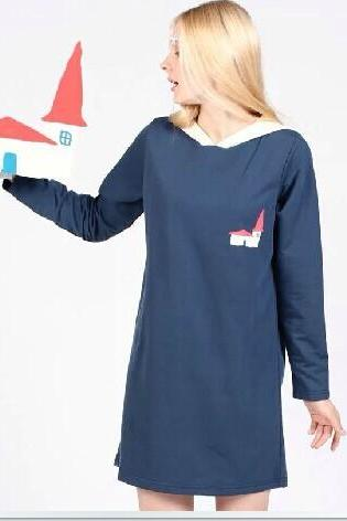 House pointed hat and long sections sleeved sweater women