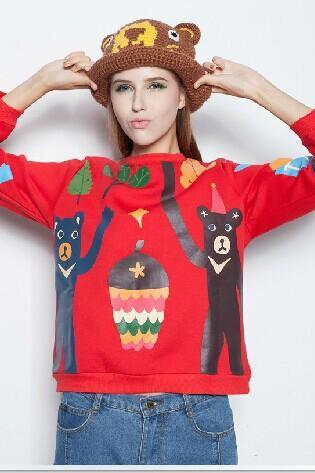 Red Bear sweater with pine cones