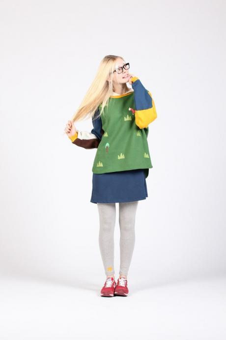 The Fox and the tree hit color stitching loose sweater